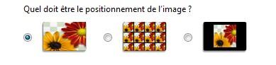 Choix du positionnement de l'image dans Windows Vista