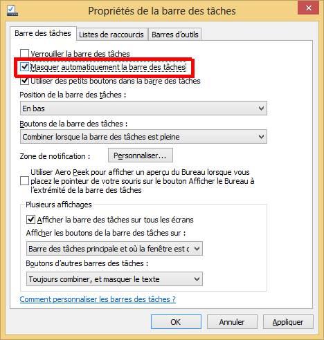 Windows 8 - masquer la barre des taches