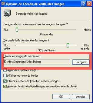 Paramètres de l'écran de veille de Windows