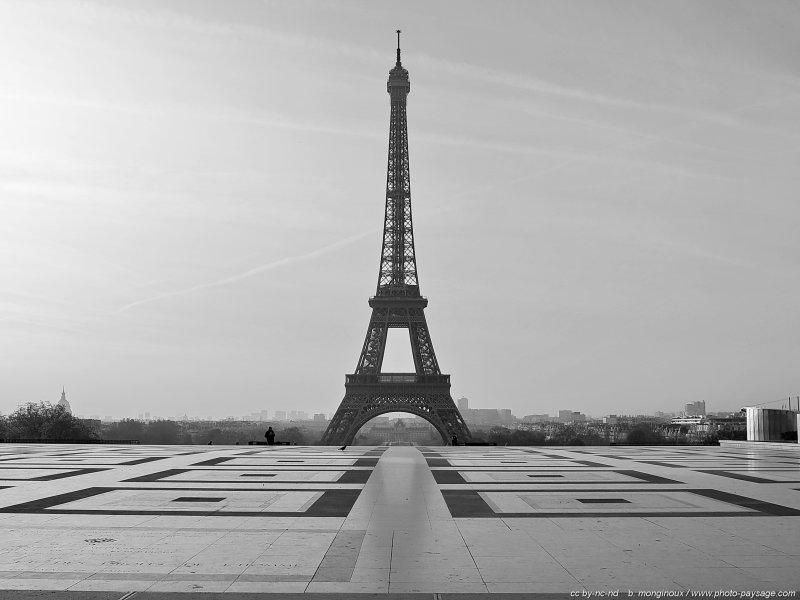 La tour eiffel en noir blanc photographi e depuis le for Paris paysage