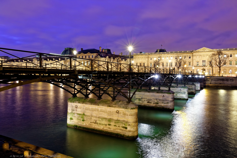 Paris nocturne le pont des arts remis neuf photo le blog - Pont des cadenas paris adresse ...