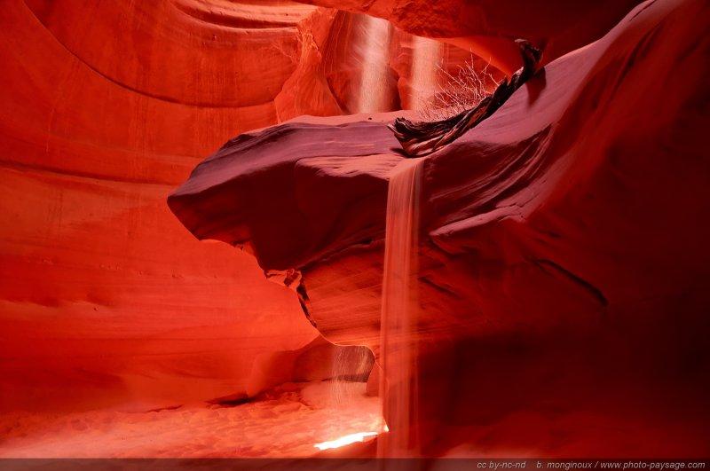 Puits de lumière et coulée de sable au fond d'Antelope Canyon Arizona, USA