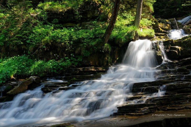 En continuant en amont de la Dranse de Montriond, après les Lindarets dans les sous-bois, vous passerez à côté de cette jolie petite cascade. L'occasion de faire une petite pause à l'ombre assis sur un tronc d'arbre...