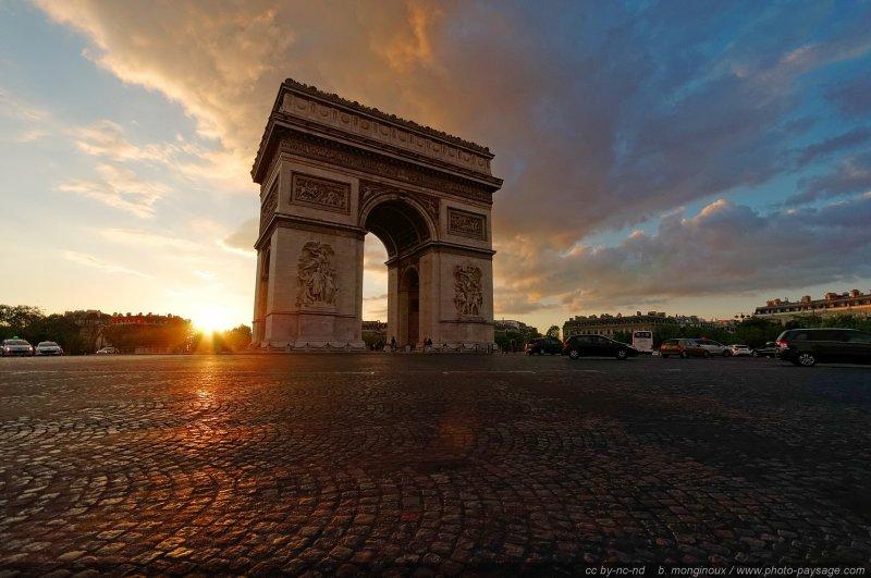 Coucher de soleil derrière l'Arc de Triomphe