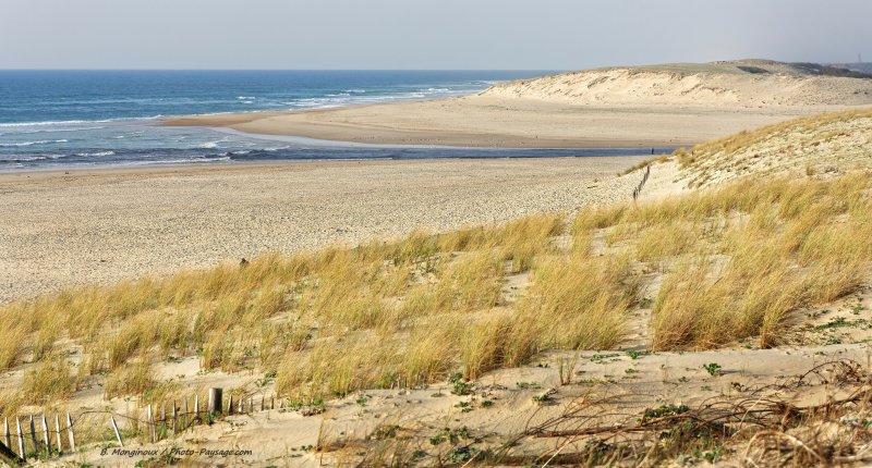 L'embouchure du courant d'Huchet, se jetant dans l'océan atlantique. Réserve naturelle du courant d'Huchet, Moliets-et-Maâ, Landes.
