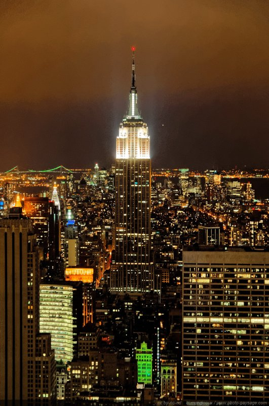 New-york photographié de nuit : l'Empire State Building - New-York, USA