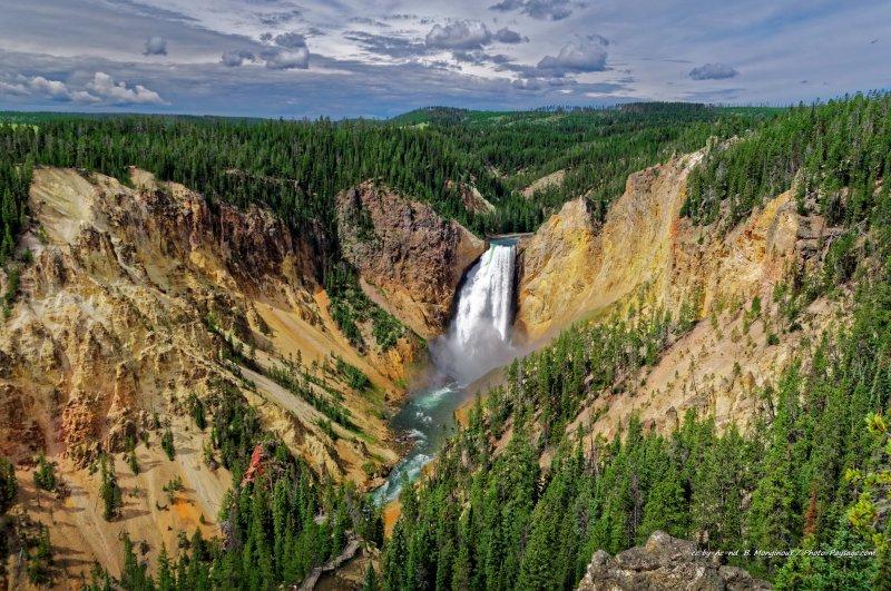 La cascade de Lower Falls et la rivière de Yellowstone.