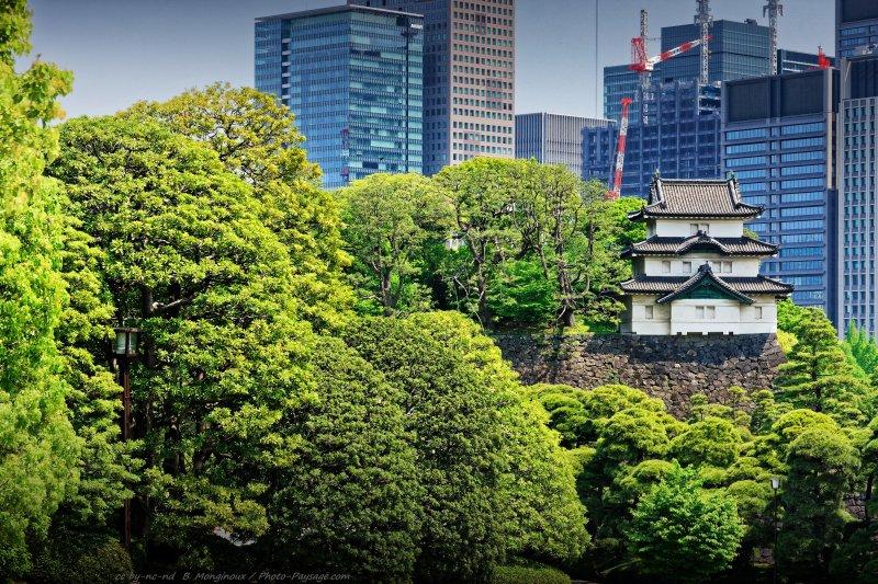 Tour de garde dans le palais de l'Empereur  : Contraste entre tradition et modernité au Japon : une tour de garde dans le palais de l'Empereur à Tokyo, et en arrière plan un paysage urbain de grues et gratte-ciels...