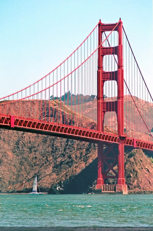 Un voilier passant sous le Golden Gate - San Francisco, Californie, USA