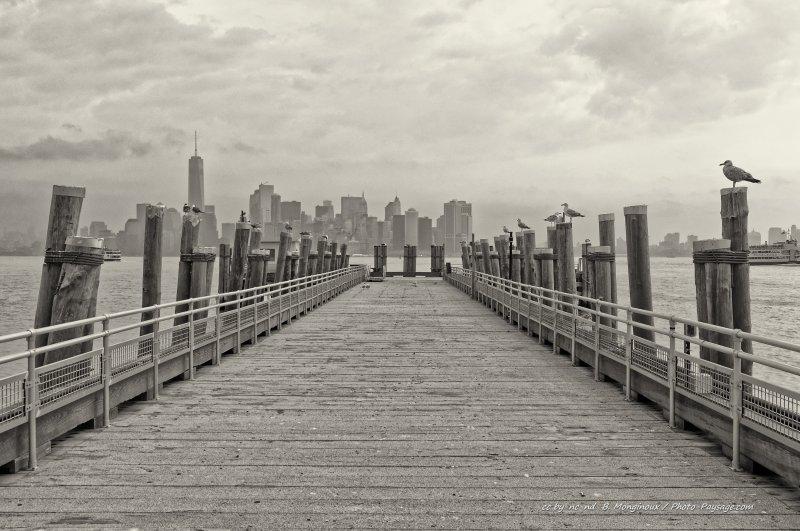 En arrière plan : les gratte-ciels du sud de Manhattan. Photo prise depuis Liberty Island, baie de New-York, USA
