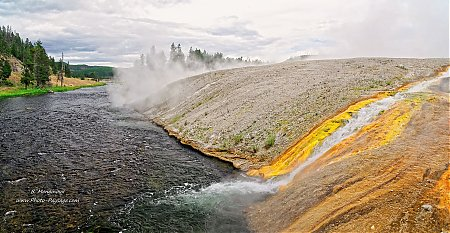 Des sources chaudes s'écoulent dans la Firehole river