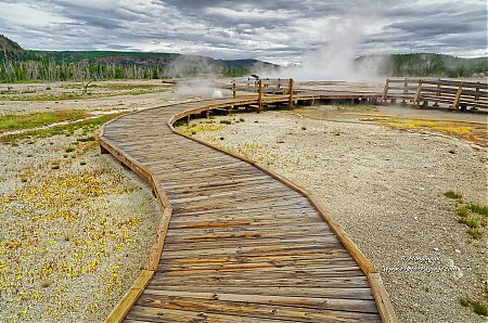 Un ponton au milieu des sources thermales de Black Sand basin