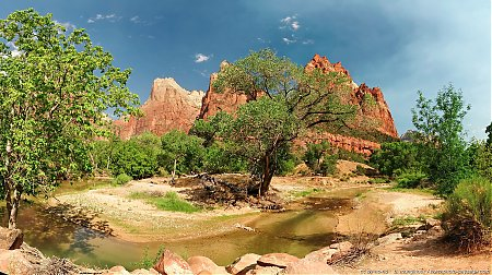 Zion : vue panoramique de la Virgin river au pied de la Cour des Patriarches 